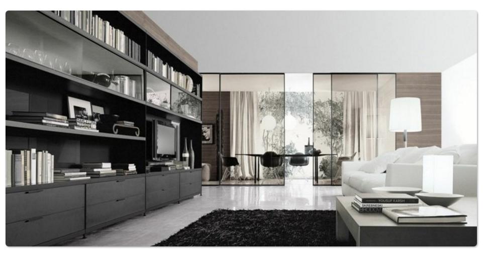 Decoración Minimalista. Amplio salón con mueble librero y gran ventanal
