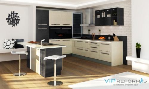 Diseño de cocina integral con decoración moderna